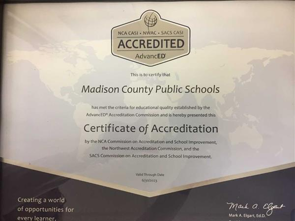 Photo of Accreditation Certificate for Madison County Schools