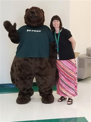 Photo of Robin Bishop and Benson the Bear BCES