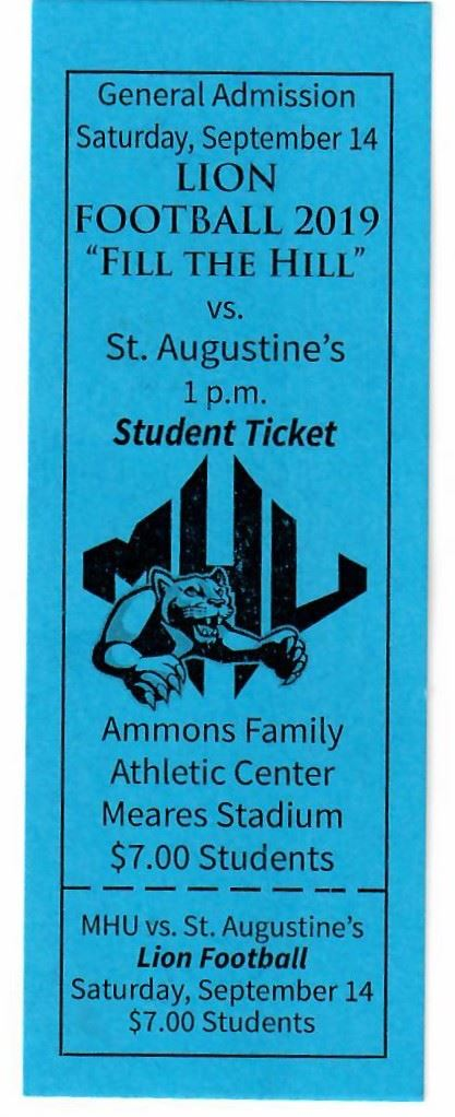 Photo of Admission Ticket for Mars Hill Lions Football Game
