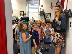 Photo of Students and Teacher at MHES first day