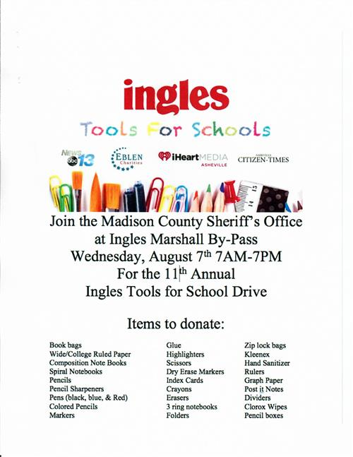 Ingles Tools for Schools Event Flyer
