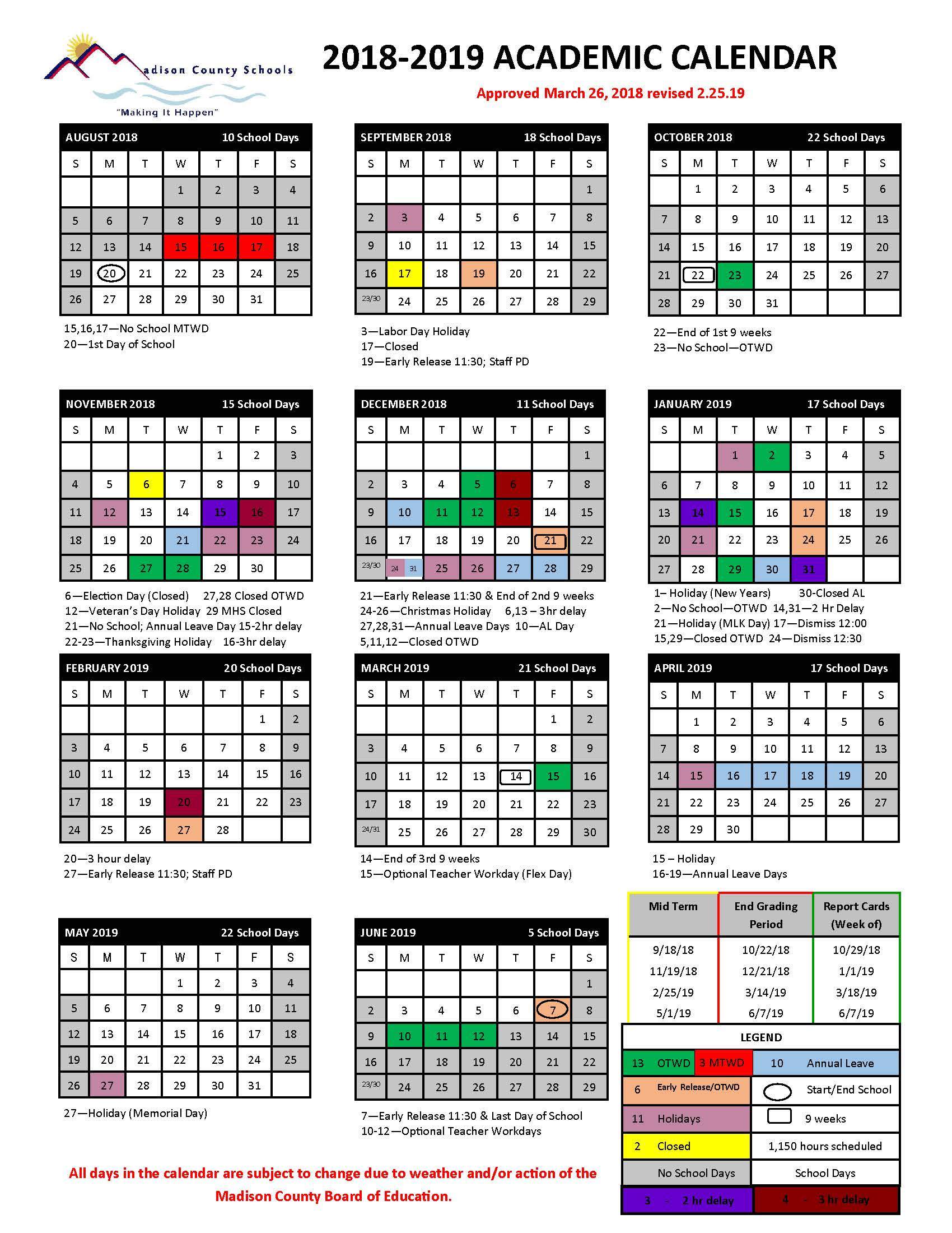 the madison county school board of education and our calendar committee have approved a change to our current calendar the end of our 9 weeks grading