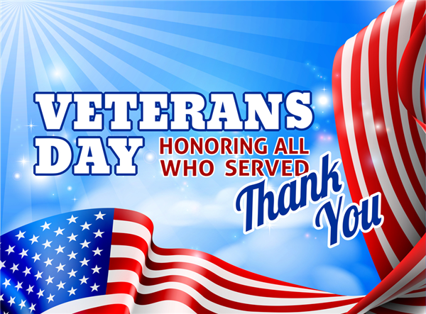 Photo of Veterans Day Sign Thank you for your service.